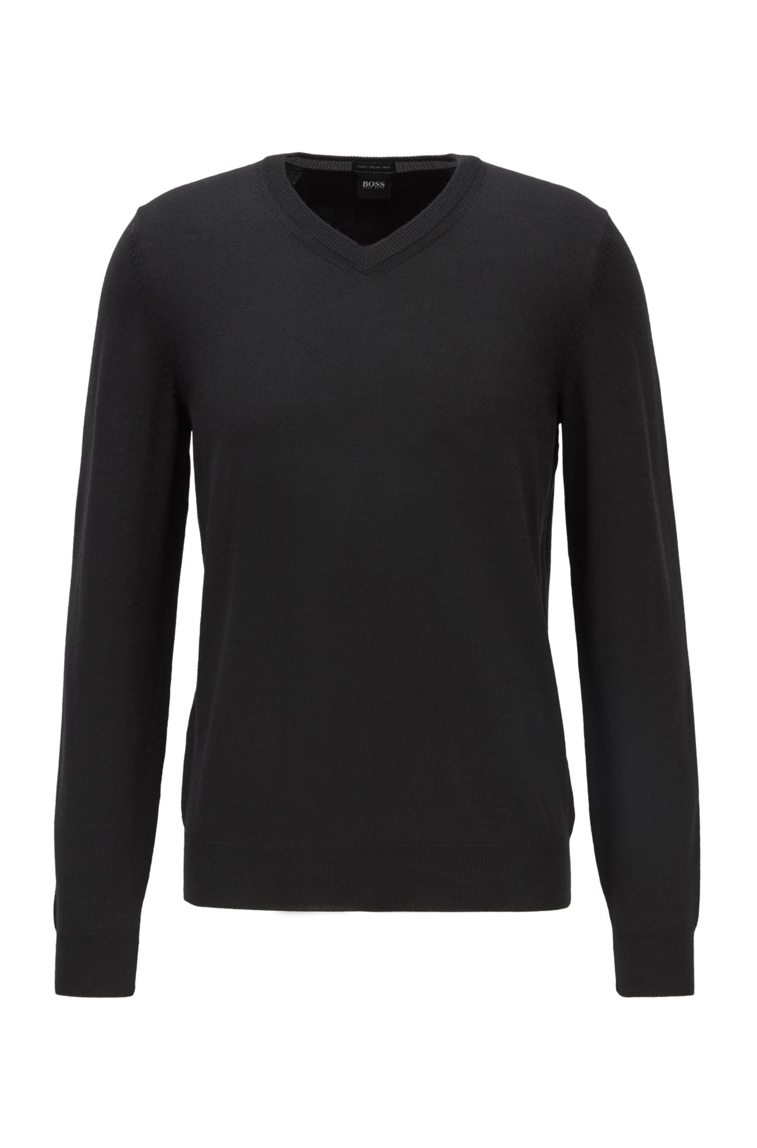 Hugo Boss - BARAM Black V-Neck Sweater In Virgin Wool (Without Logo) 50435452
