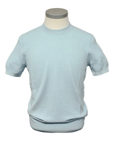 Circolo 1901 - Sky Blue Pallino Textured Knitted T-Shirt CN3121