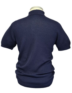 Circolo 1901 - Navy Blue Chicco Textured Knitted Polo Shirt CN3133