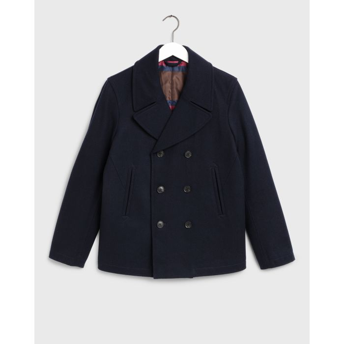 GANT - Evening Blue Classic Double Breasted Pea Coat  7006023