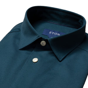 ETON - Petrol Blue Slim Fit Pique Shirt 10000185627