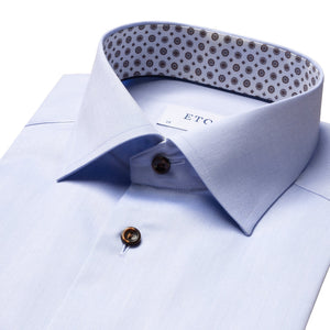 Eton - Light Blue Contemporary Fit Shirt with Medallion Details 10000172921