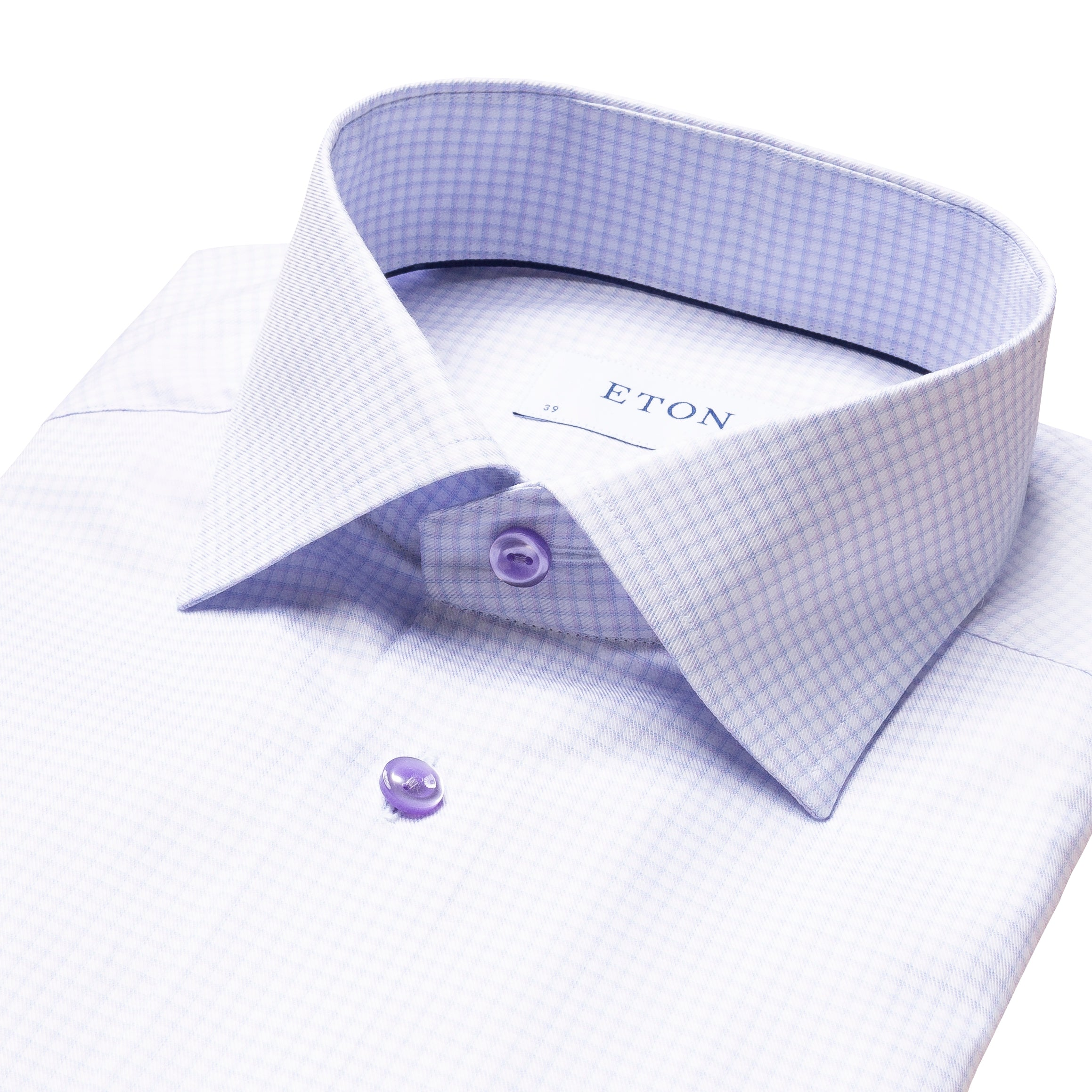 ETON - Lavender 3D Check Contemporary Fit Shirt 10000179871