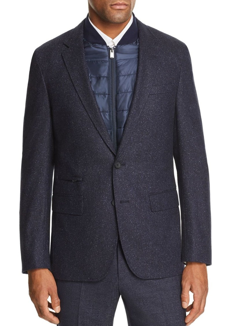 Hugo Boss - Navy Blue Slim-Fit Jacket in Stretch Wool With Detachable Inner 50438380
