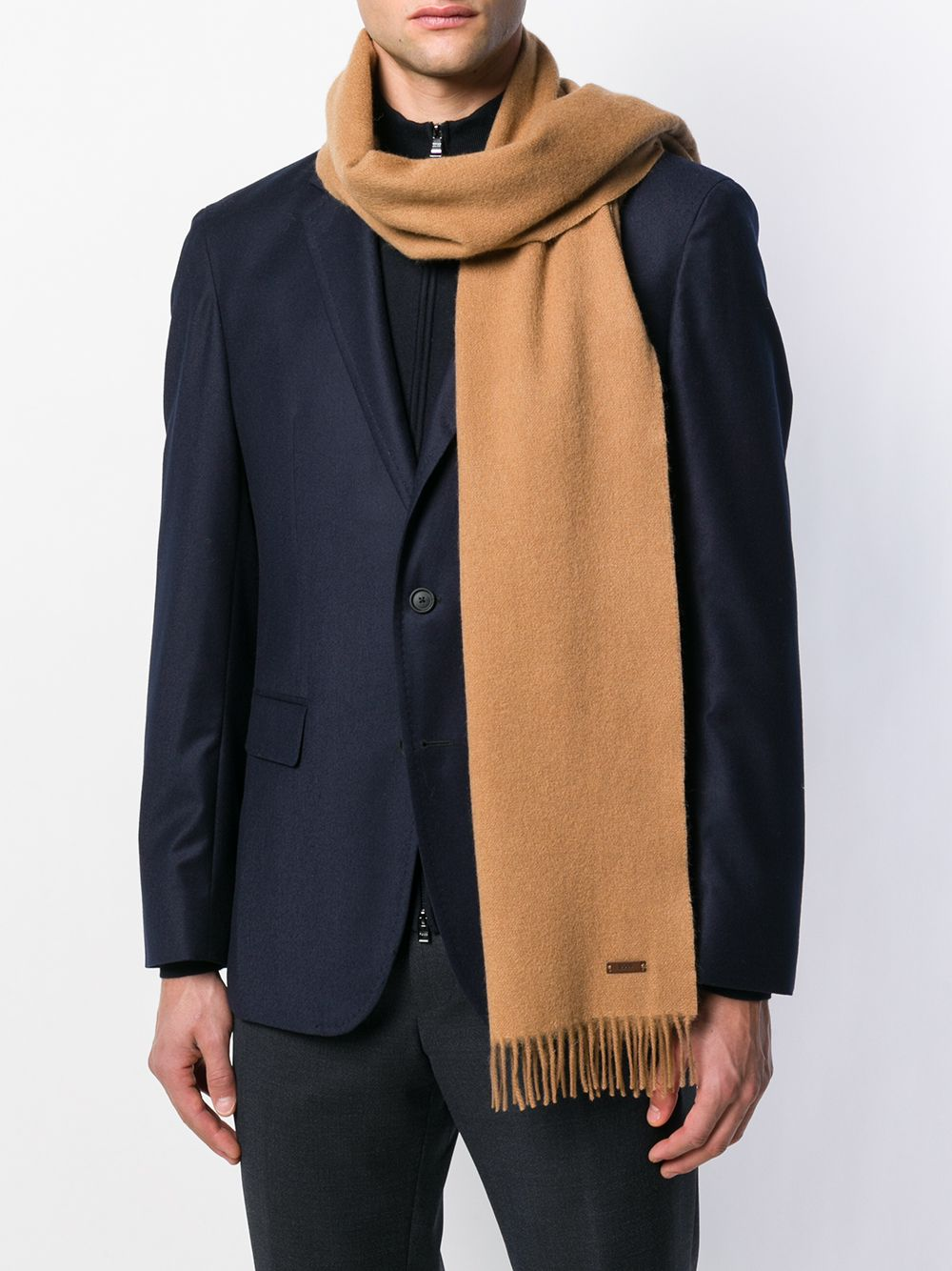 Hugo Boss - HERUSO 06 Beige Wool Scarf with Fringed Detail 50415073