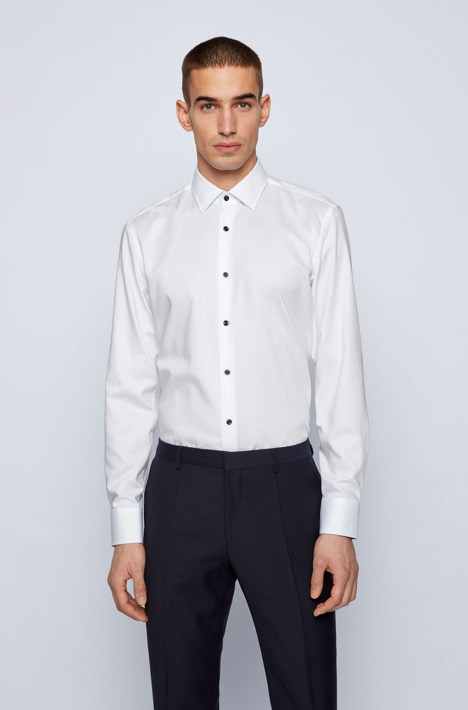 Hugo Boss - JORAX White Slim Fit Shirt with Contrast Buttons and Trim 50450153