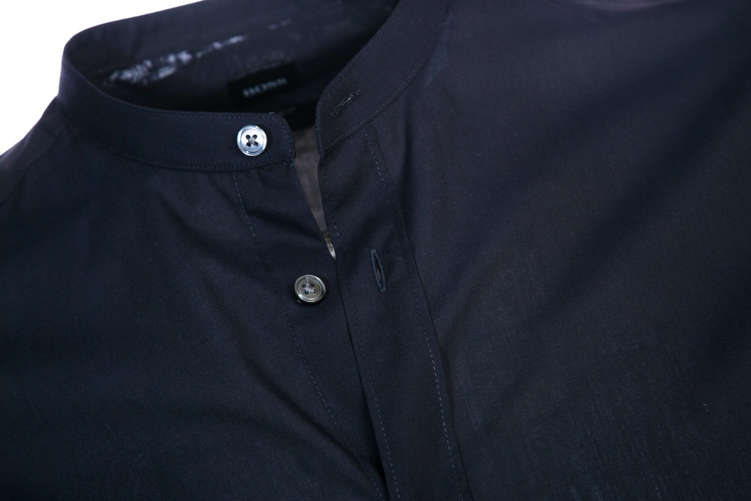 Hugo Boss - Lamberto - Regular Fit Band Collar Shirt in Navy Blue