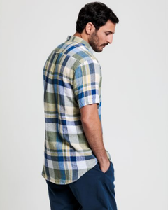 GANT - Regular Fit Short Sleeve Linen Madras Shirt in Sunshine