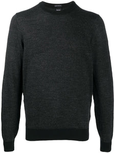 Hugo Boss - MAURILLO Black Patterned Crew Neck Knitwear 50438426