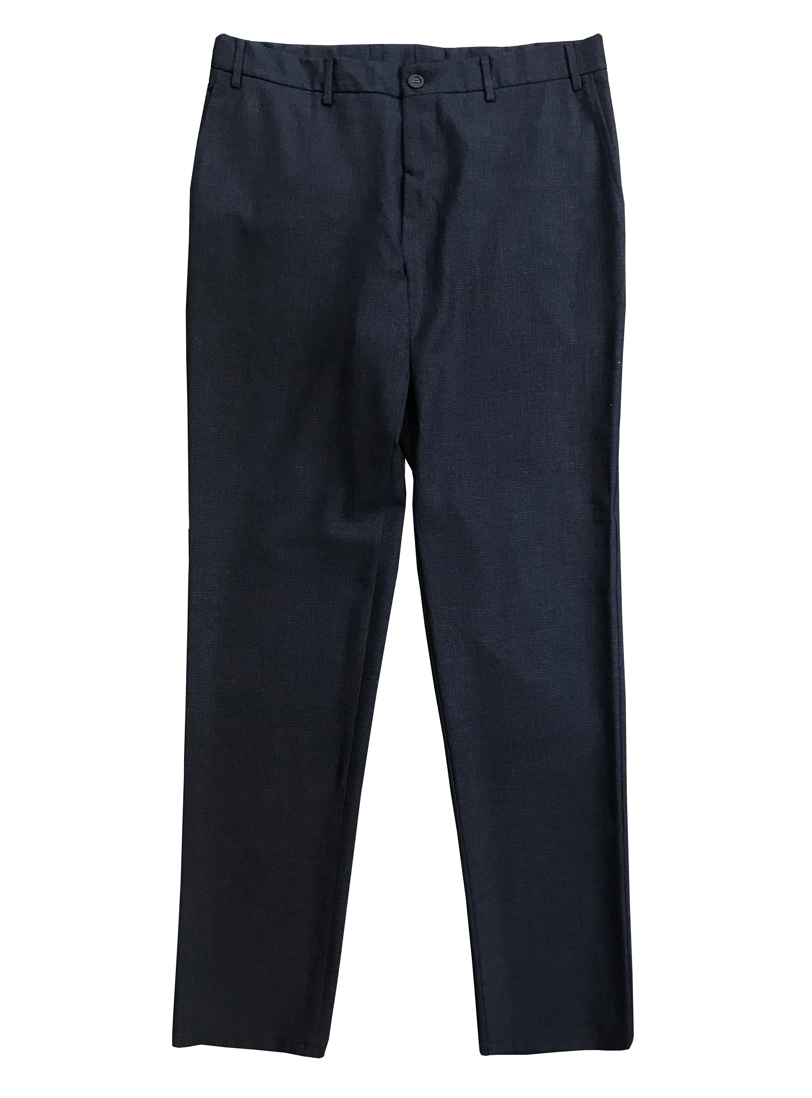 Canali - Dark Blue Micro Patterned Regular Fit Wool Trousers V1019 6R