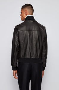 Hugo Boss - NEOVEL Black Grained Leather Bomber Style Jacket 50439215