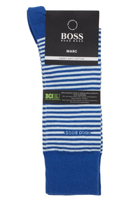Hugo Boss - Open Blue Striped Socks in Combed Stretch Cotton 50392525