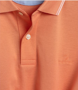 Gant - Oxford Pique Short Sleeve Rugger Polo in Pale Coral