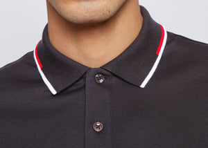 Hugo Boss - PARLEY 104 Black Regular-Fit Polo Shirt with Striped Collar 50