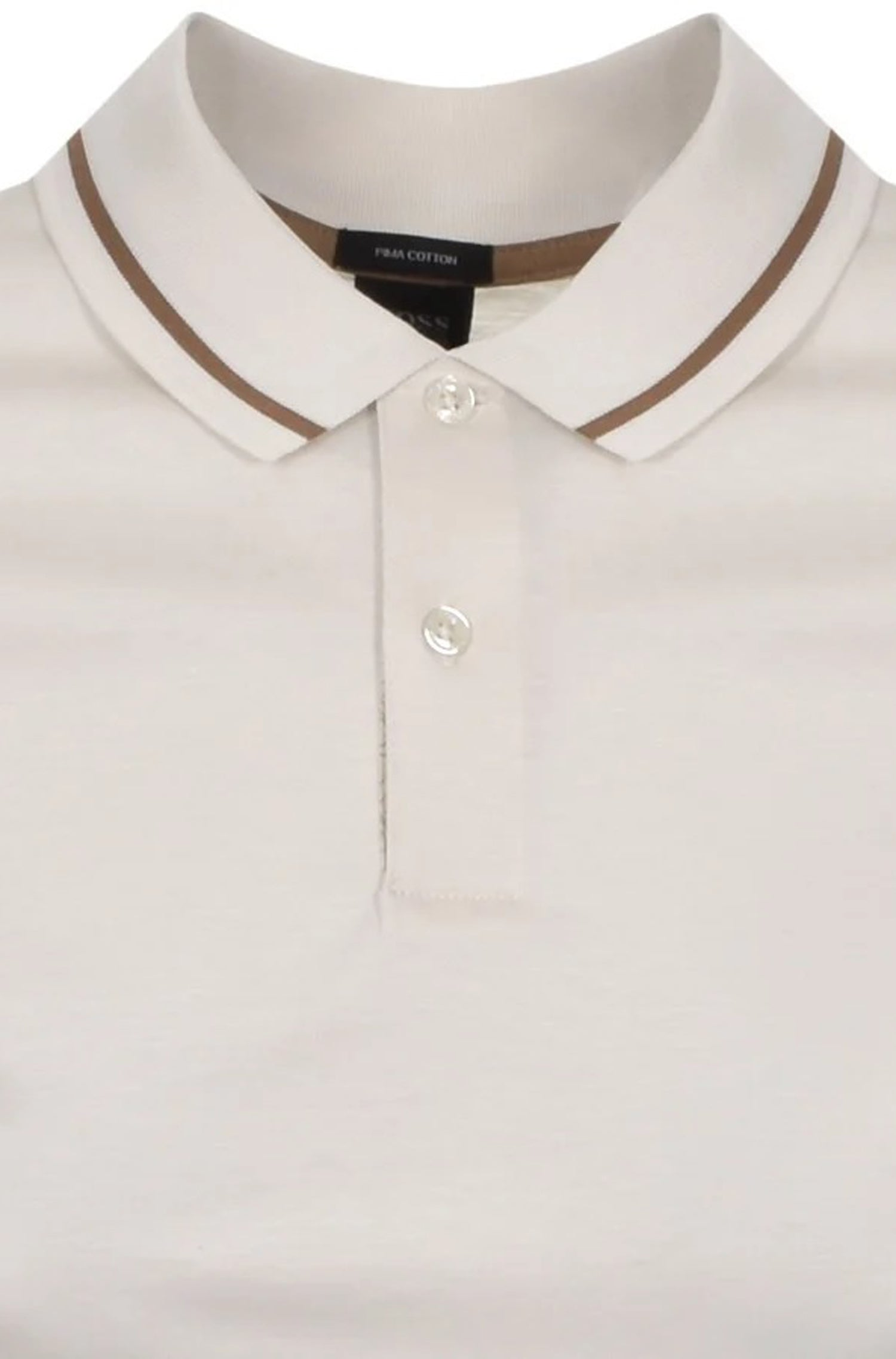 Hugo Boss - PARLAY 108 Open White (Cream) Soft Pima Cotton Polo Shirt with Tipping Detail 50448903