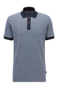 Hugo Boss - PARLAY 112 Dark Blue Soft Jersey Cotton Polo Shirt with Contrast Collar 50449053