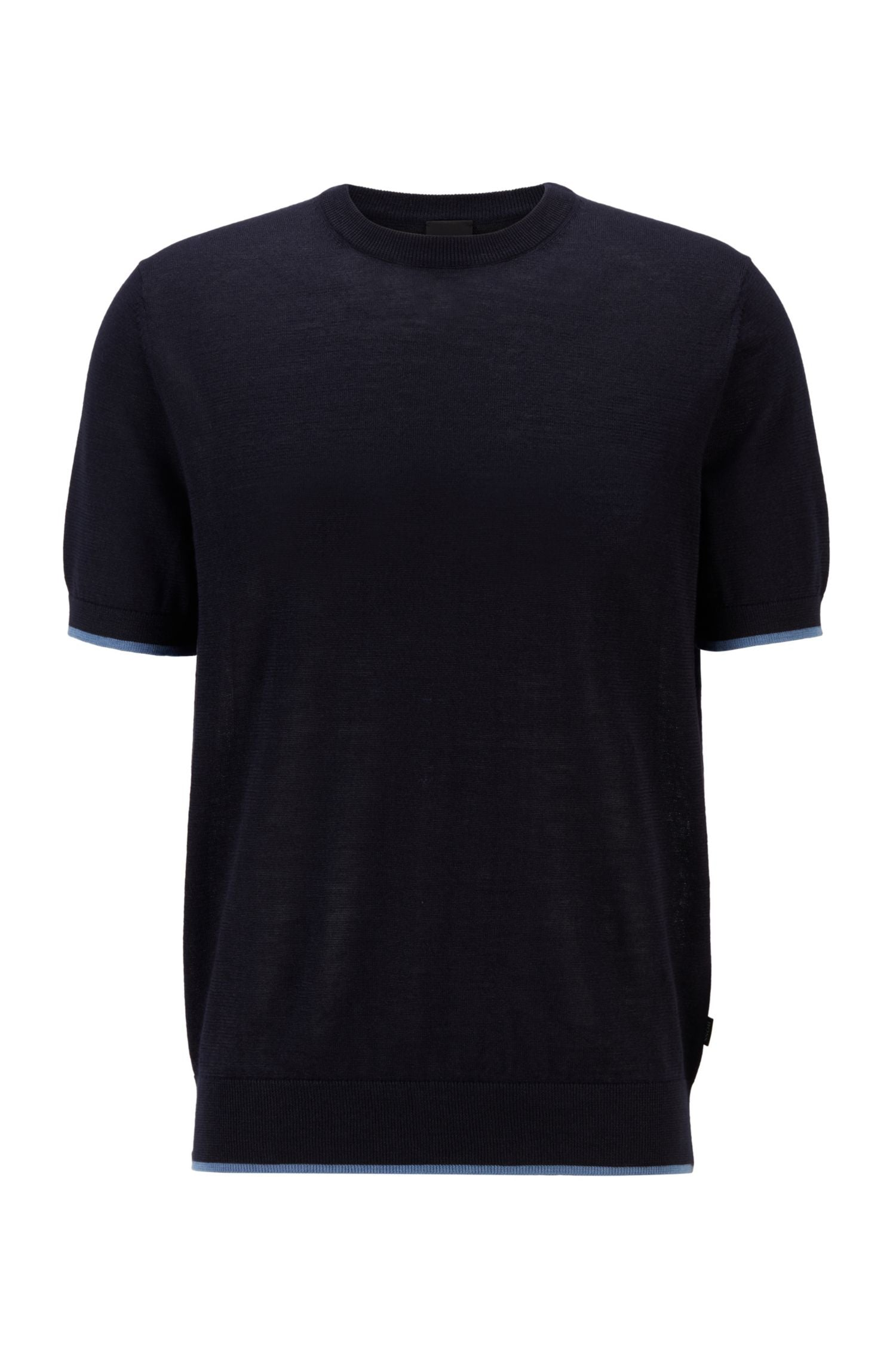 Hugo Boss - PERSIMO Dark Blue Short Sleeves Sweater Tee in Ramie and Cotton Blend 50449960