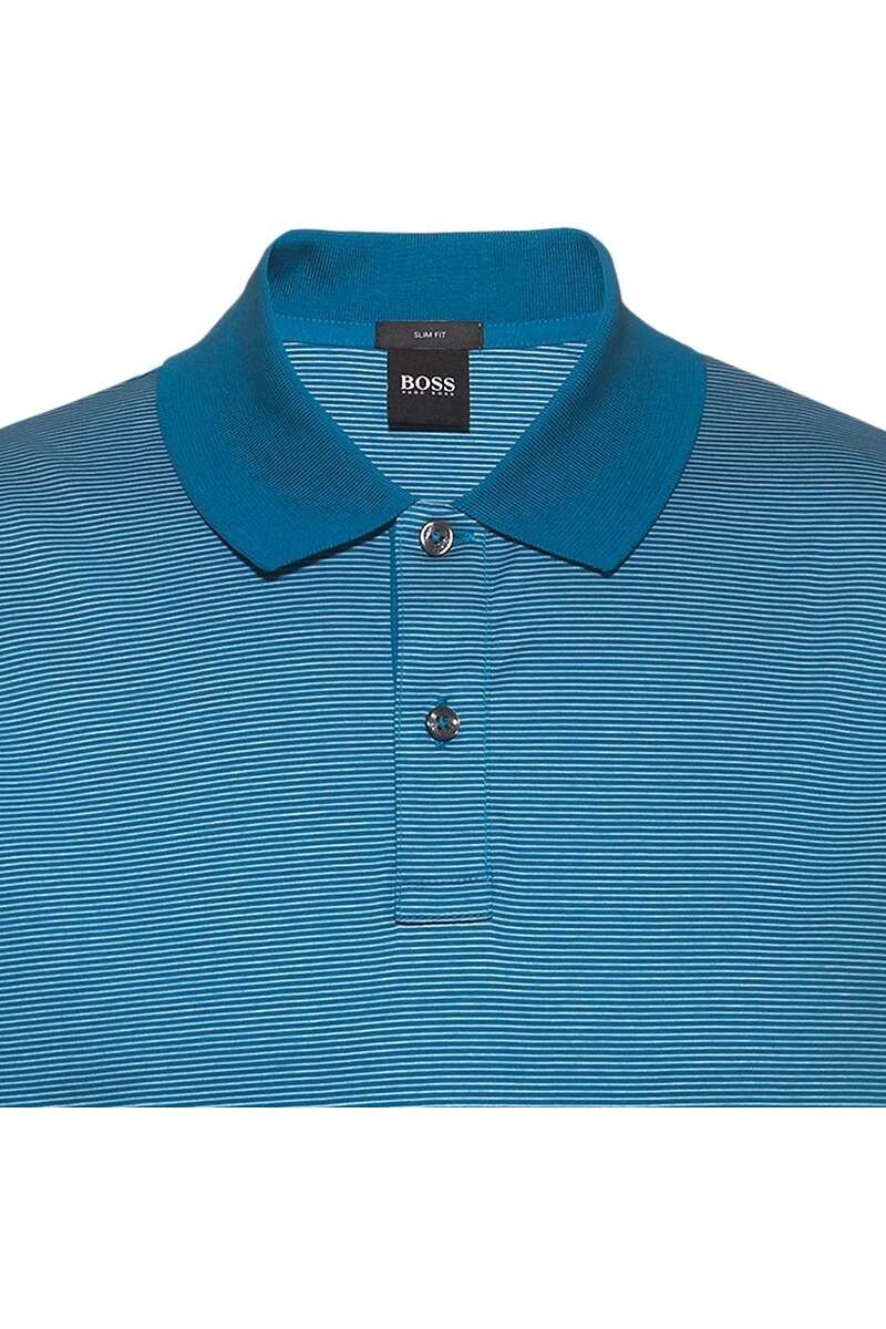 Hugo Boss - PHILLIPSON 82 Turquoise Striped Slim Fit Polo Shirt 50449371