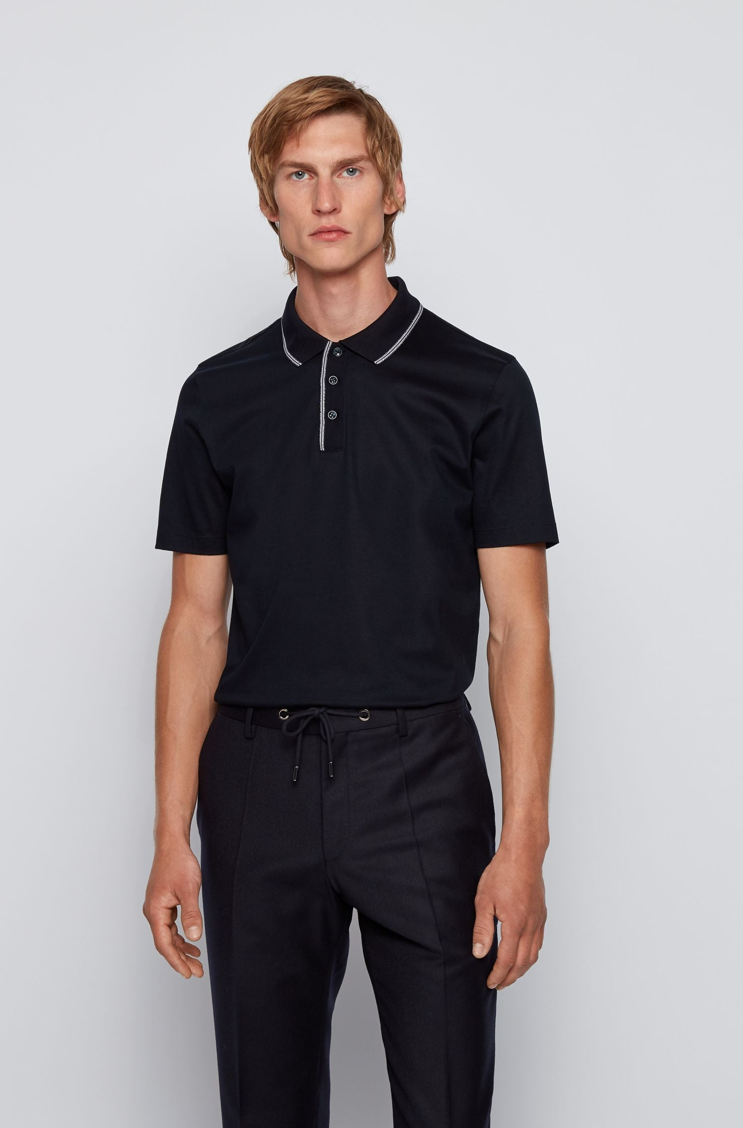 Hugo Boss - PLATER Dark Blue Slim-Fit Polo With Tipping Stripes 50436682