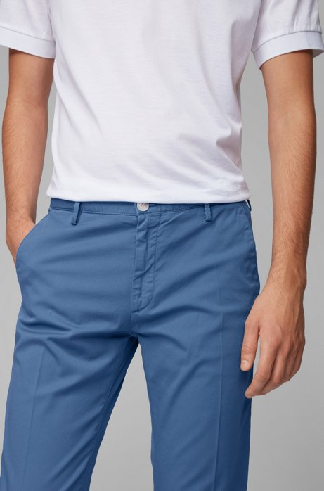 Hugo Boss - Rice3-D - Slim-fit Chinos in Stretch Cotton Gabardine in Open Blue