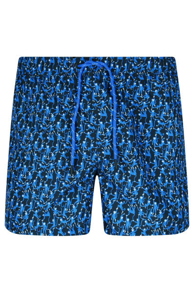 Hugo Boss - Rockfish - Quick Dry Swimshorts with Monkey Print in Open Blue