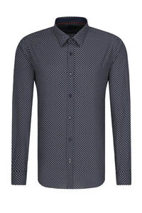Hugo Boss - RONNI_53 Dark Blue Slim Fit Patterned Shirt in Awatti Cotton 50438735