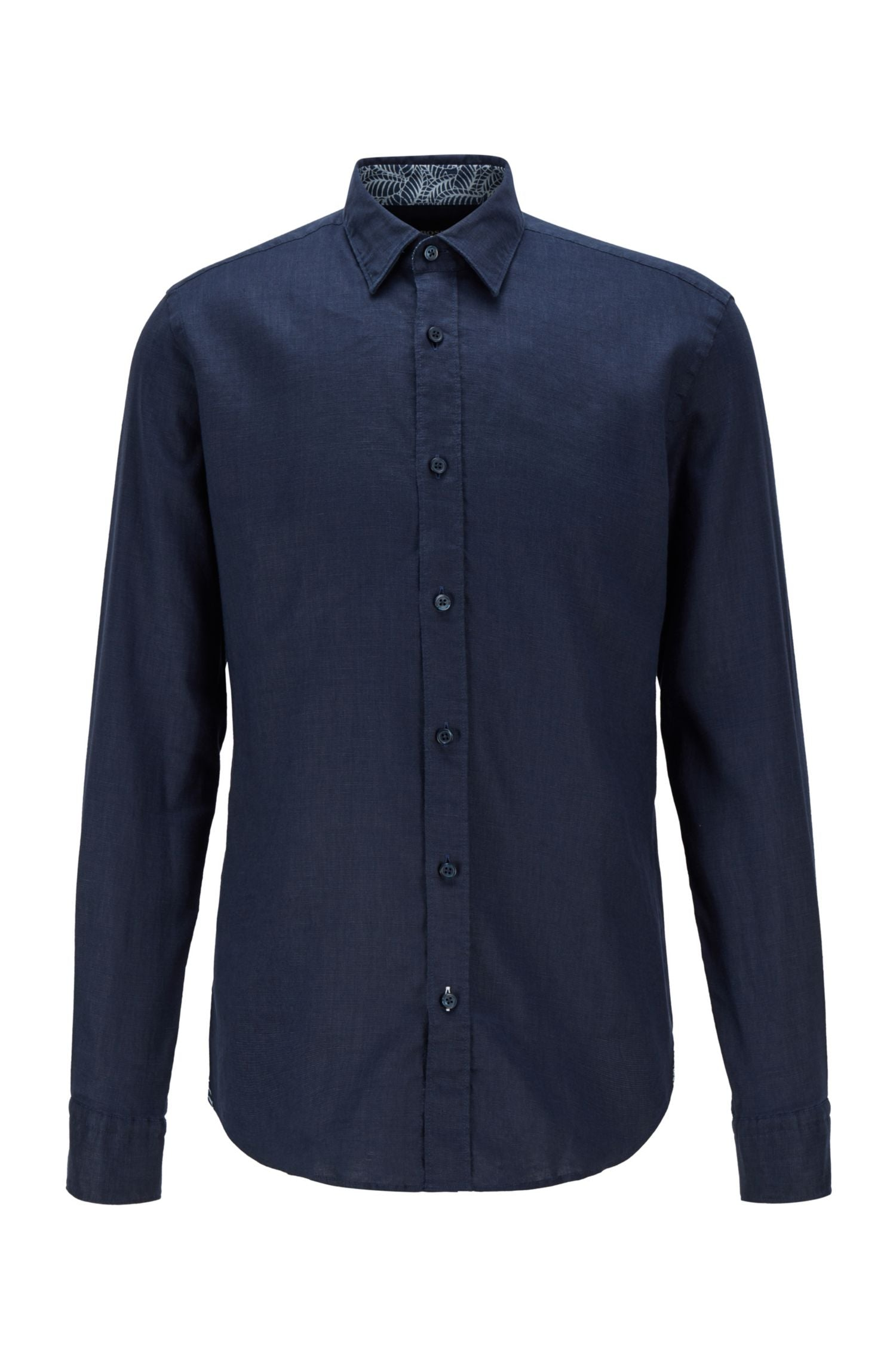 Hugo Boss - RONNI_53 Dark Blue Slim-Fit Shirt in Stretch Linen 50448896