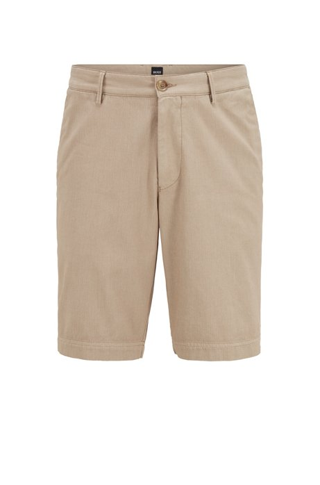 Hugo Boss - Slice-Short - Slim-fit Shorts in Cotton-Blend Jacquard in Light Pastel Brown