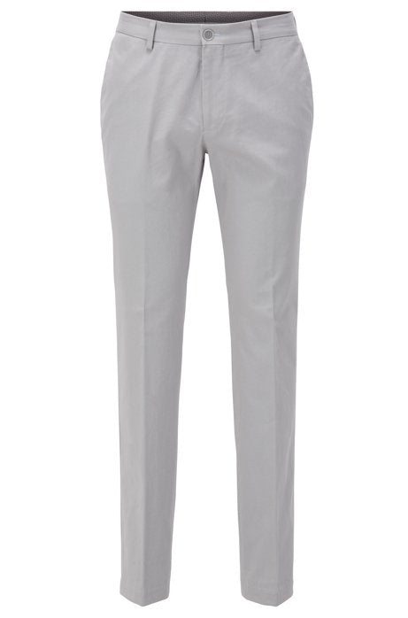 Hugo Boss - Stanino17-W Slim-fit Open Grey Trousers in Washed Stretch Cotton