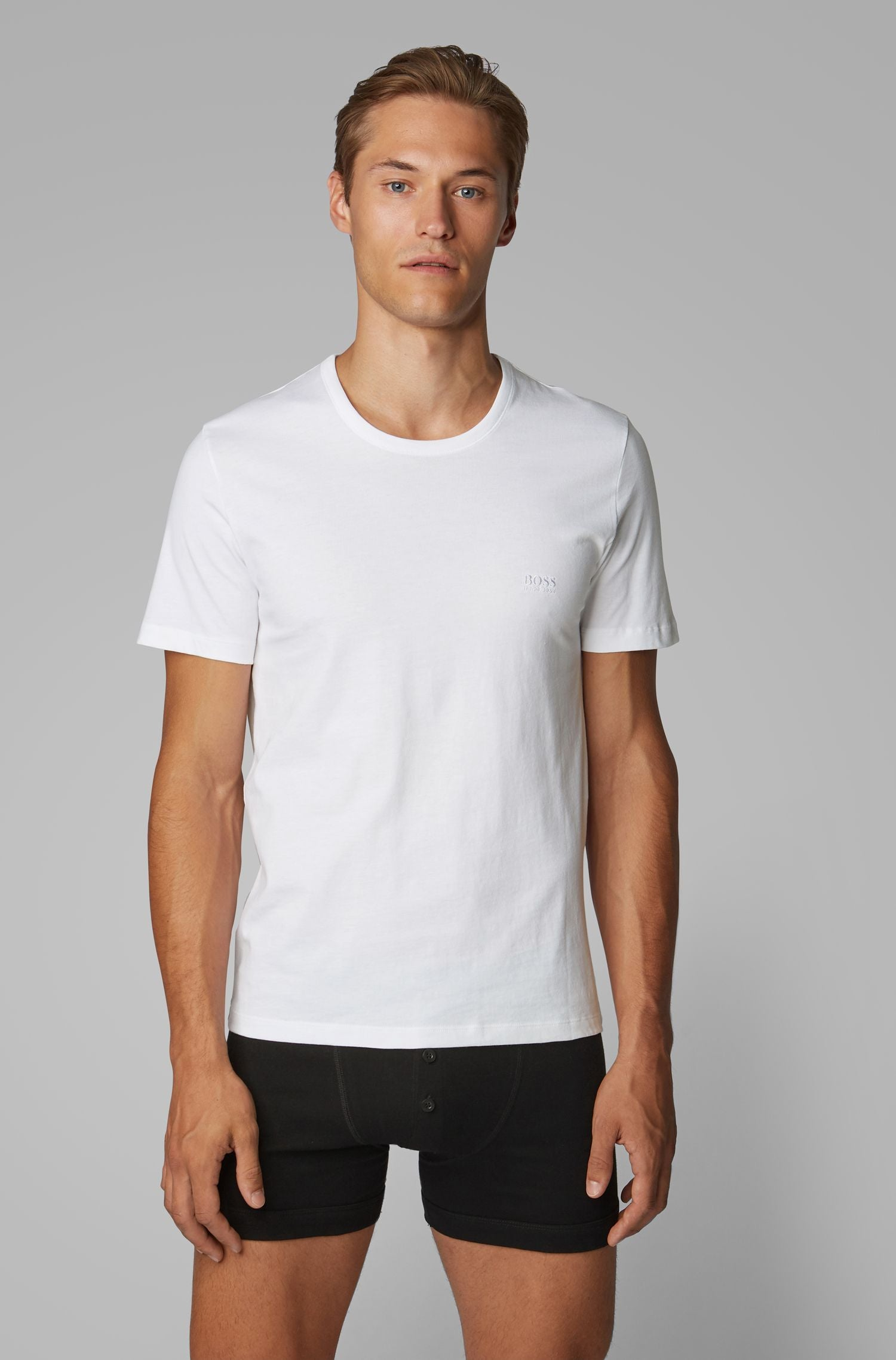 Hugo Boss - 3-pack Of All White Underwear T-Shirts In Pure Cotton 50325388