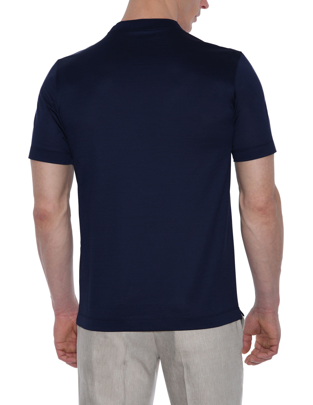 Canali - Navy Blue Pure Oxford Cotton T-Shirt T0540-MJ00370/300