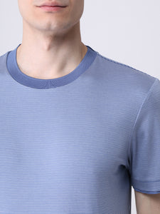 Hugo Boss - TESSLER 158 Open Blue Slim-Fit T-Shirt in Fine-Striped Interlock Cotton 50449909