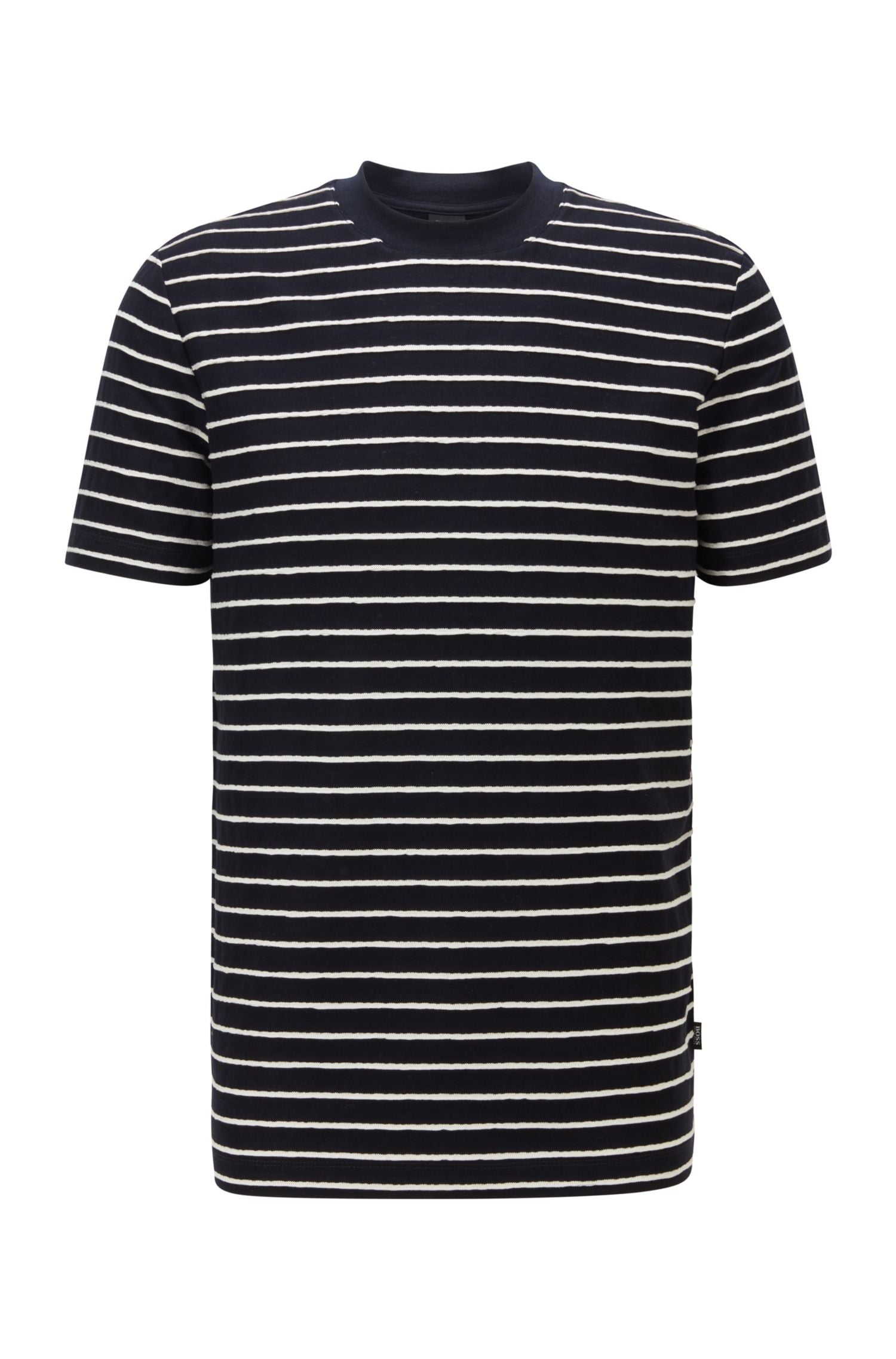 Hugo Boss - TIBURT 223 Dark Blue Regular-Fit Cotton-Linen T-Shirt with Horizontal Stripes 50450786