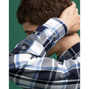 GANT - Blue/White Twill Check Hugger Fit Shirt 3029230