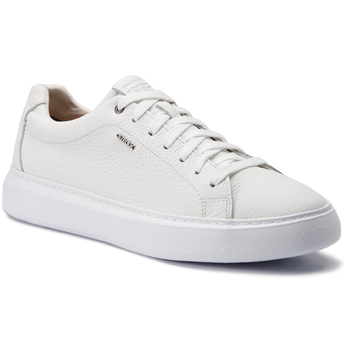 GEOX - DEIVEN White Grained Leather Trainers U845WB000T0C1000