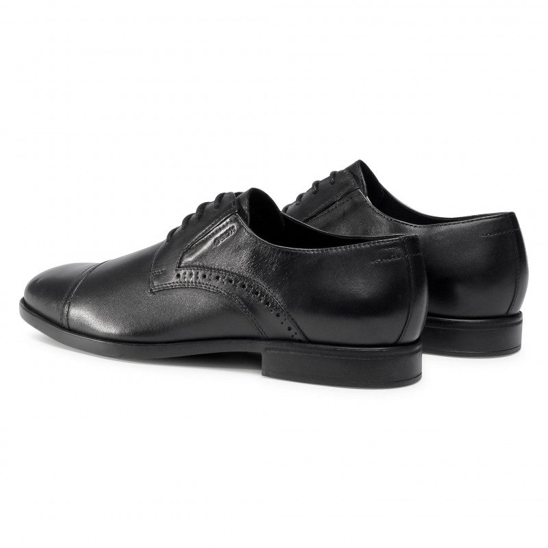 GEOX - U DOMENICO Black Leather Lace Up Shoes U029LB