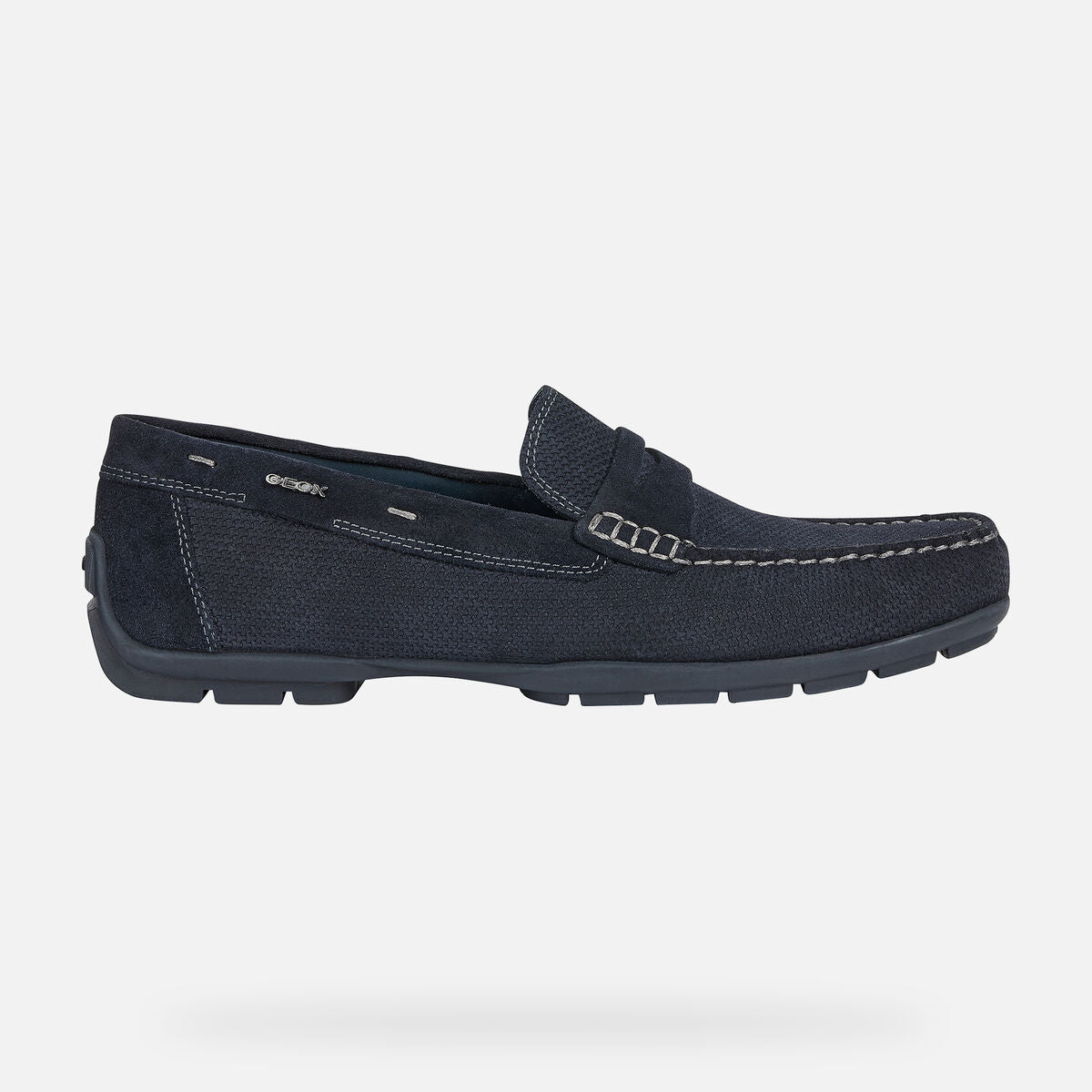 GEOX - Navy Blue Suede U-Moner 2Fit Loafers U44Q6D