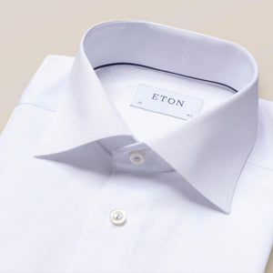 Eton - Contemporary Fit - White royal twill shirt with button thread detail.