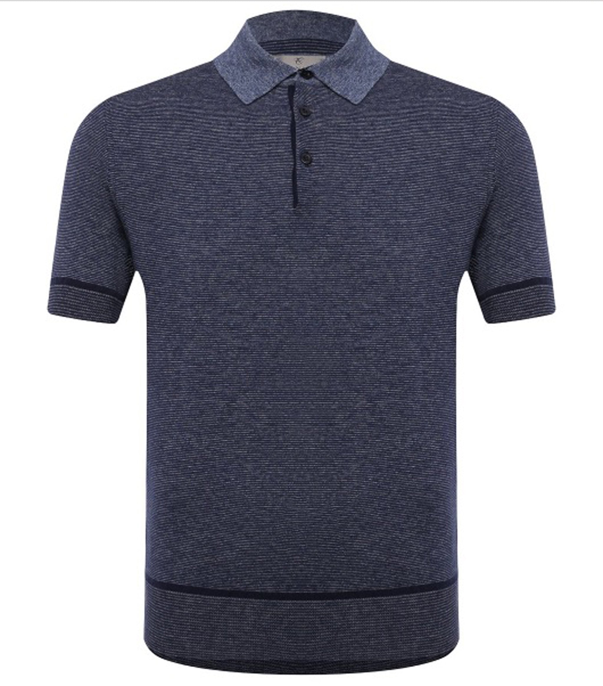 Canali - Navy Blue Knitted Polo Shirt with Contrast Collar C0780 MK01140/300