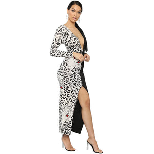 V Neck Leopard/solid color dress