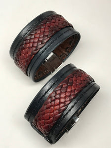 Tribal braided Leather 'snake skin' barcelet/cuff