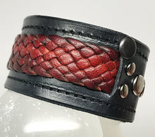 Load image into Gallery viewer, Tribal braided Leather 'snake skin' barcelet/cuff