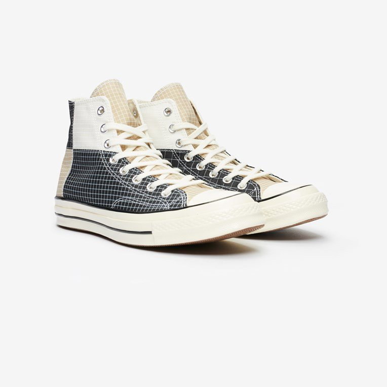CHUCK 70 BLACK EGRET OYSTER GREY HIGH TOP