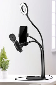 Phone Holder with Lamp and Microphone Holder - Ledom Life Savers