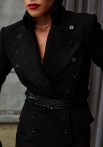 Woman wearing Norisol Ferrari black jacket