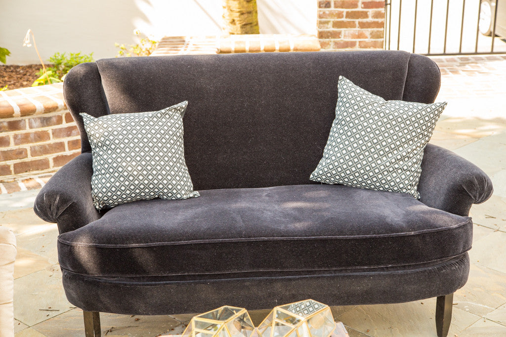 Lounge Furniture   Vintage Sofa [Black Velvet Settee Sofa]