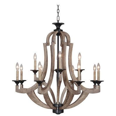 Lighting - Wood Empire 12 Light Chandelier