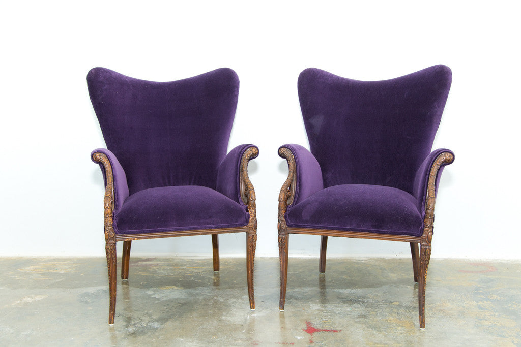 Lounge Furniture Vintage Sofa Purple Arm Chairs Ruths House Event Rentals