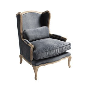 Lounge Furniture - Gray Velvet - [Antoniette Wing Chair]