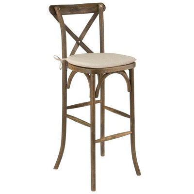Chair [X-Back Driftwood Farmhouse - Stool] (with cushion)